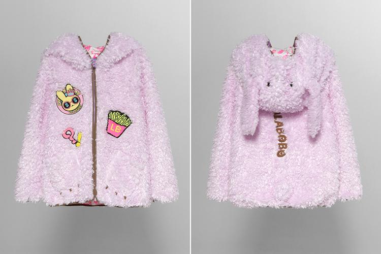 织章可爱兔毛绒外套正品