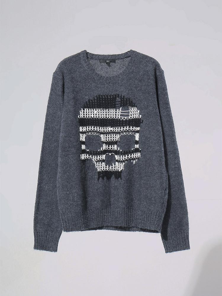 5cm 骷髅编织圆领毛衣