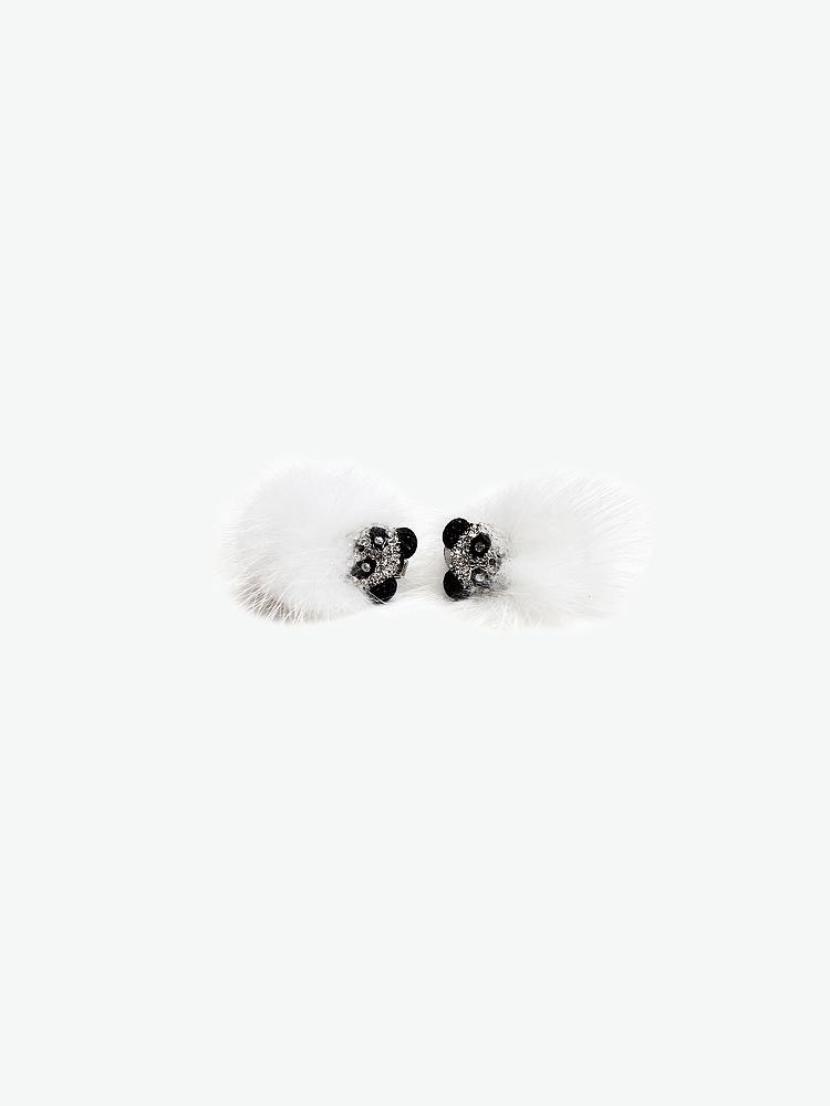 crocus 晶钻点缀纯白貂毛烘托萌宠小熊猫造型耳饰