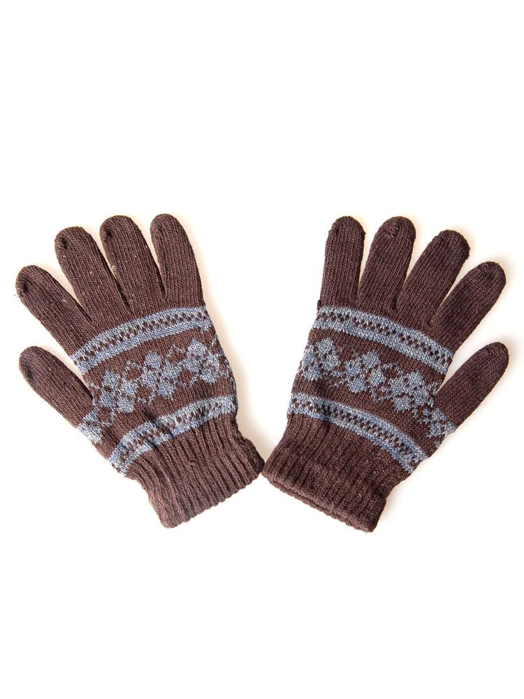 咖啡色民族风花纹毛线保暖手套