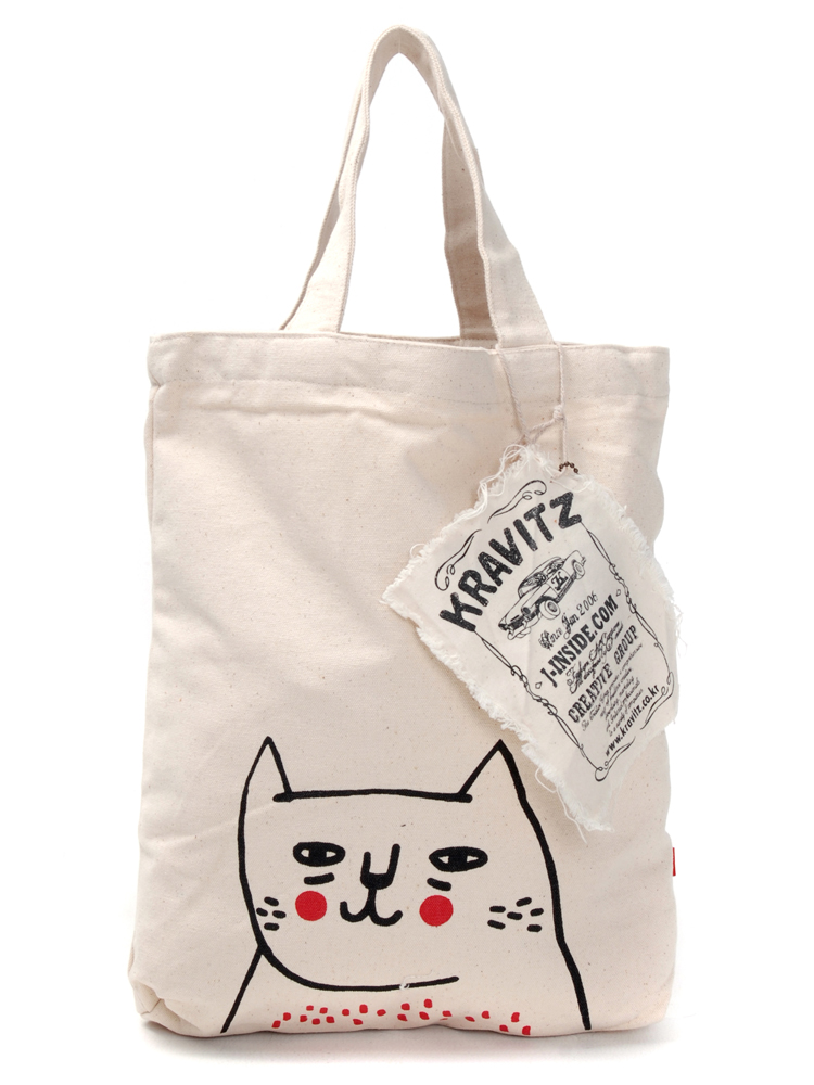 kravitz手绘帆布袋(猫) 白