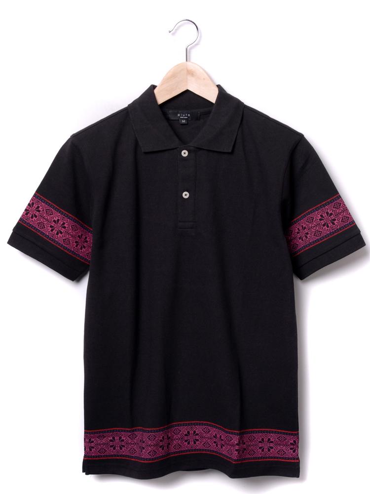 民族风花纹短袖polo衫