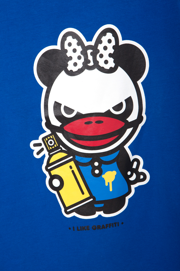 hipanda涂鸦熊猫印花短袖t恤