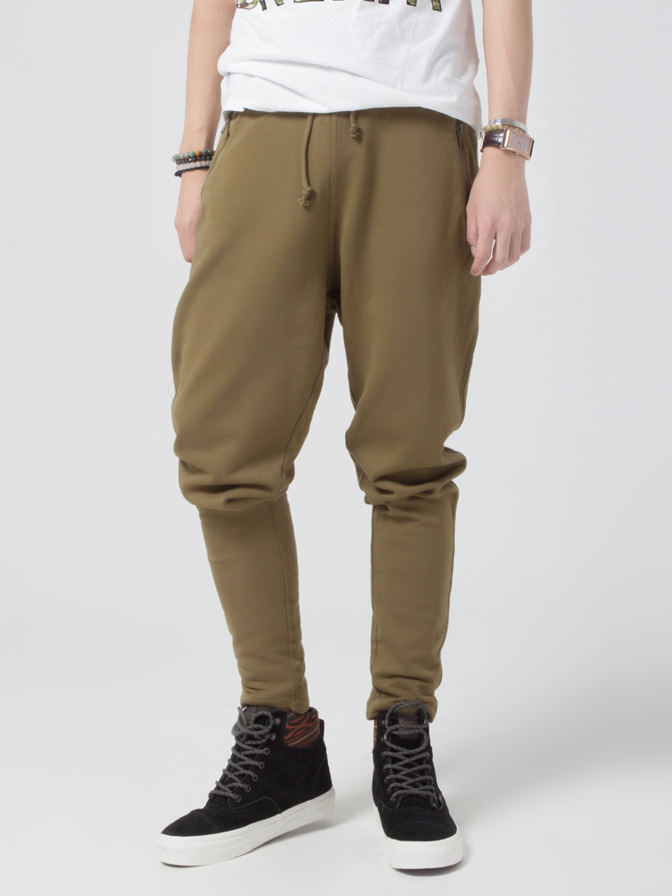 拉链口袋低裆裤