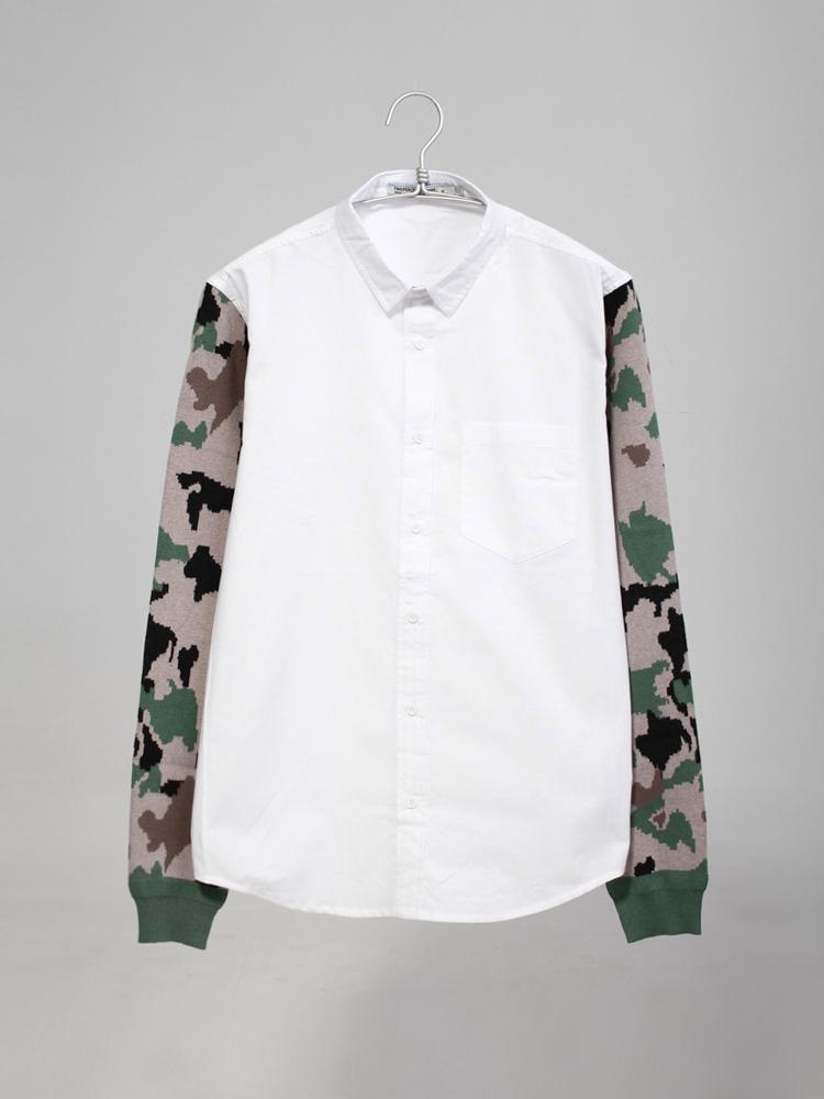 此次采用迷彩风的针织袖子搭配纯棉的白色衣身衬衫
