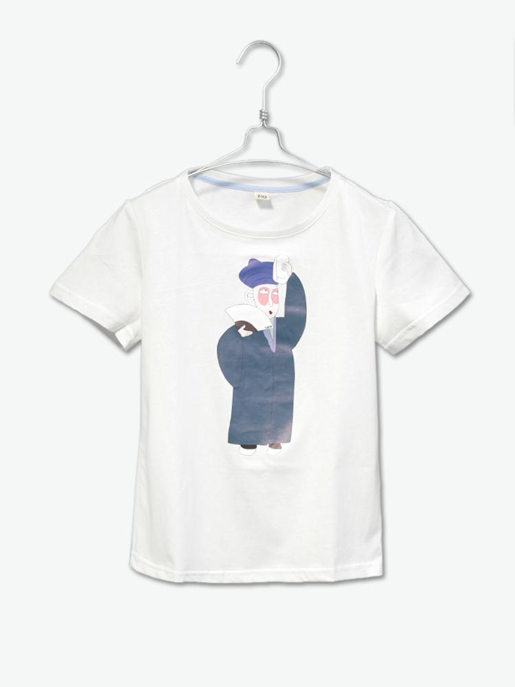 有耳uare简约可爱手绘人物图案烫图t恤