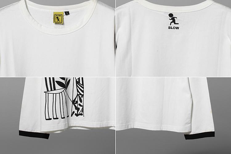 slow 黑白抽象图案t恤