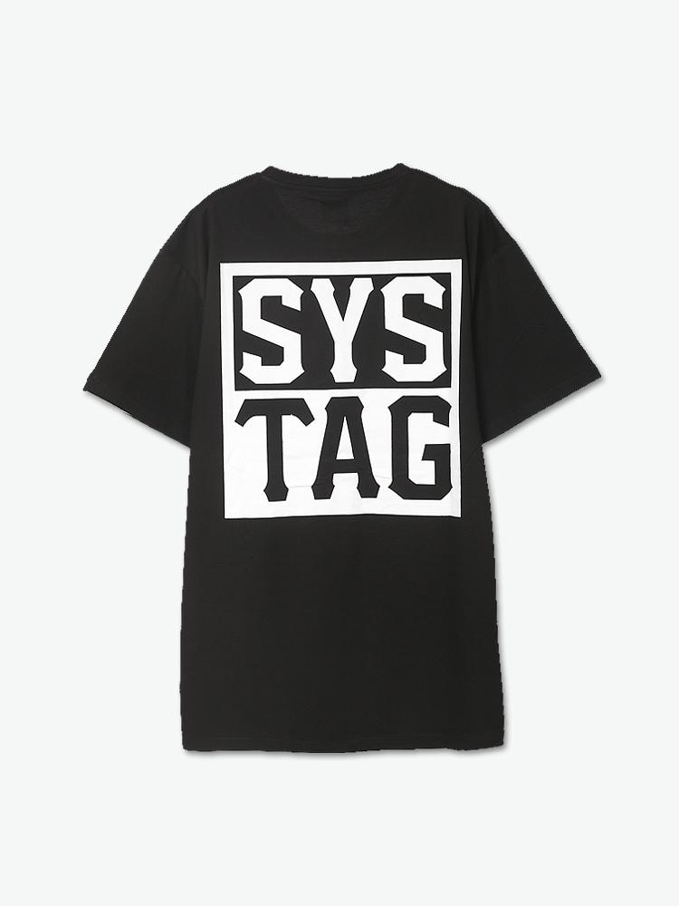 tag logo印花纯黑t恤图片