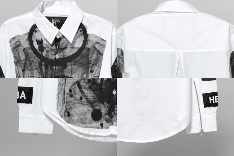 air」字体设计,    以及前卫的不对称剪裁设计等等,打造了卫衣,衬衫