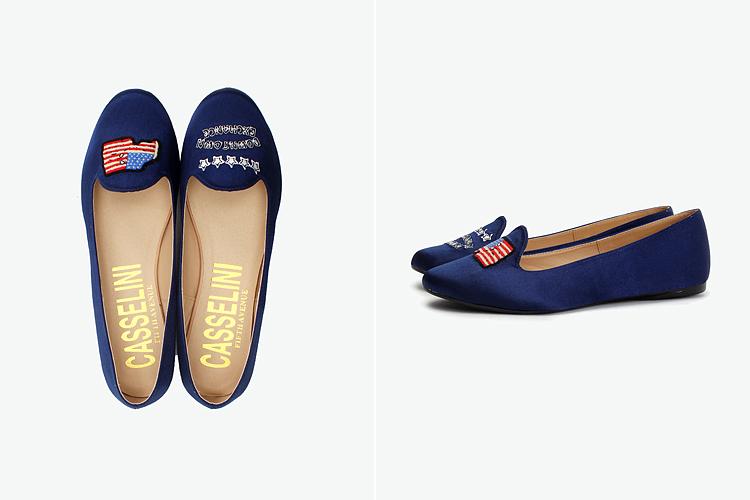 日式风格绣花鞋,鞋面采用不对成图案,更