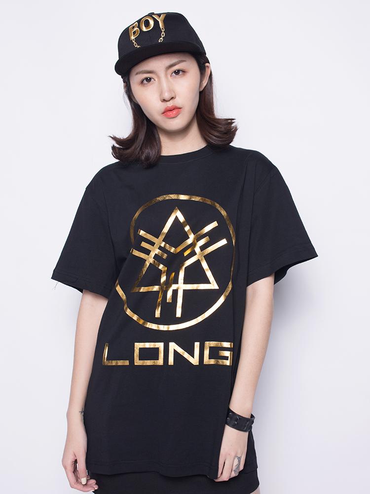 long clothing logo金箔t恤